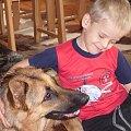 wakacje 2008, Węgorzynko. Adas i Owczarekk niemiecki :) #OwczarekNiemiecki #pies #rasa